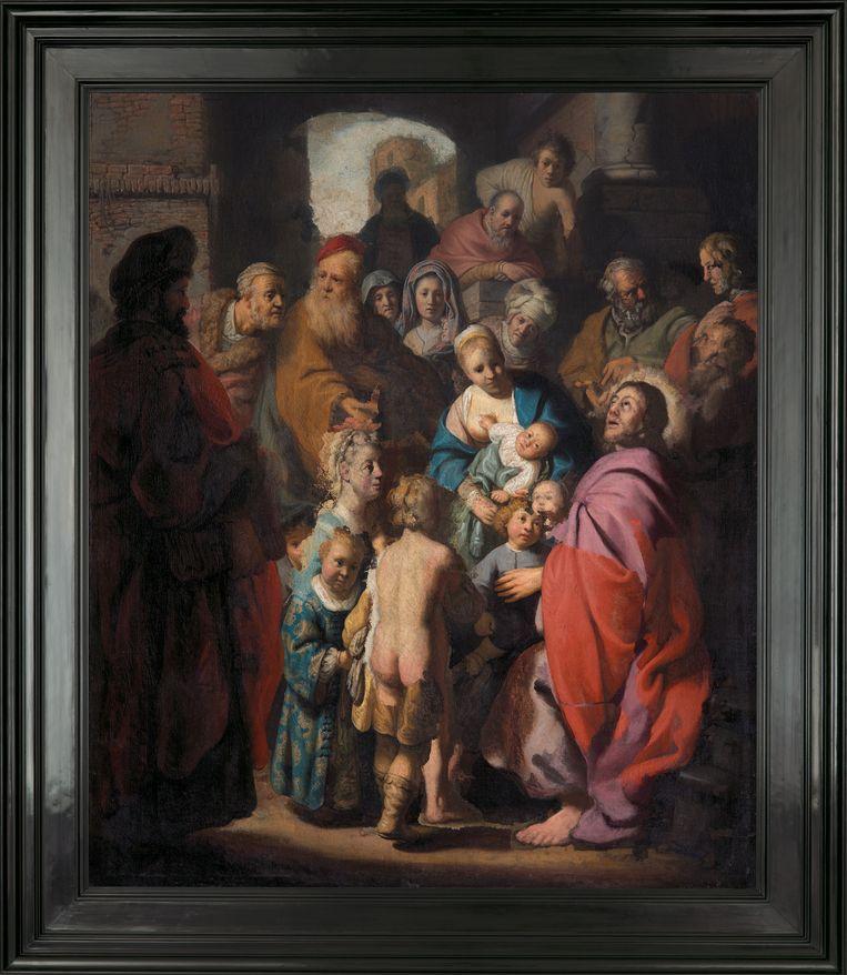 'Laat de kinderen tot mij komen', mogelijk een herontdekte Rembrandt. De jongeman bovenaan rechts zou de schilder zelf zijn. Beeld René Gerritsen