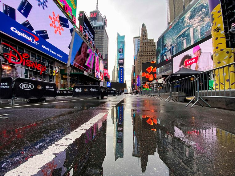 Een leeg Times Square in New York. Beeld AFP