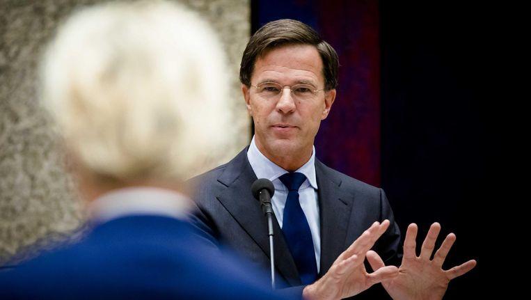 Premier Mark Rutte in debat met Geert Wilders in de Tweede Kamer Beeld ANP