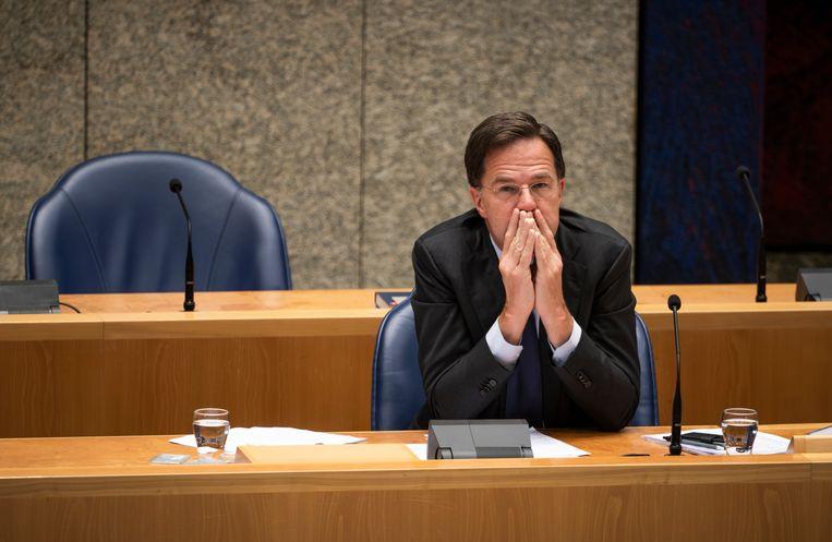 Premier Mark Rutte tijdens het debat over de EU-top.  Beeld Freek van den Bergh / de Volkskrant