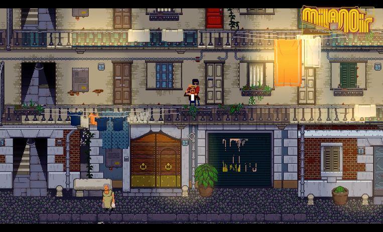 De asgrauwe straten van Milaan in pixelgraphics gehesen: maak kennis met 'Milanoir'. Beeld Devolver Digital