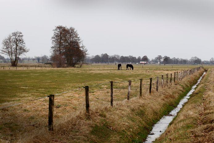 Het gebied Beekbergsebroek ten zuiden van de A1 en de Apeldoornse woonwijk De Maten.