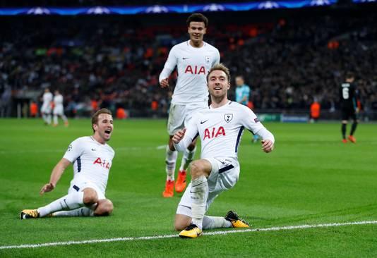Vreugde bij Christian Eriksen, Harry Kane en Dele Alli tijdens de overwinning op Real Madrid.