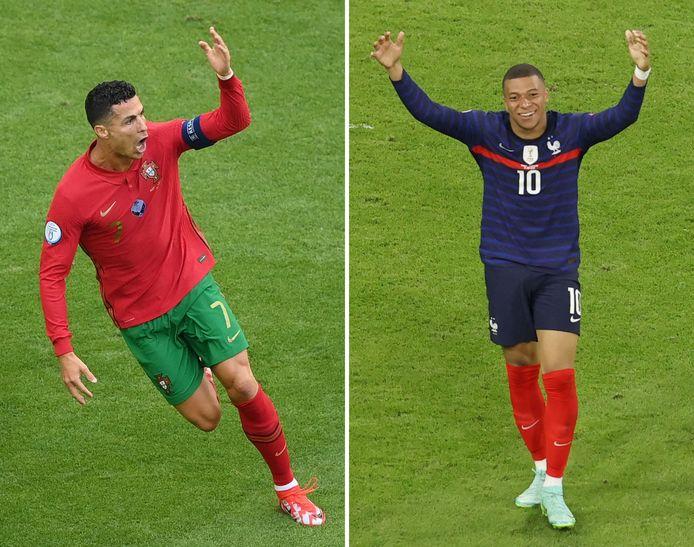 Cristiano Ronaldo (l) en Kylian Mbappé staan vanavond Boedapest tegenover elkaar.