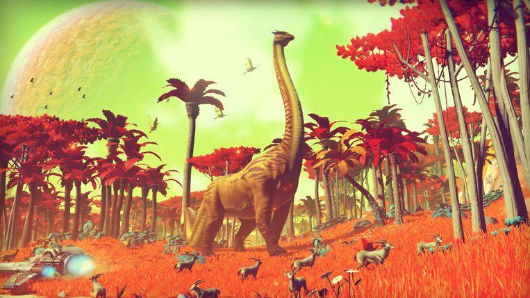 De 18 triljoen planeten in 'No Man's Sky' beschikken elk over hun eigen vegetatie en wilde dieren. Beeld Hello Games