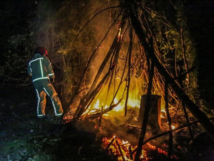 Hut van kinderen gaat in vlammen op in bosgebied in Helmond