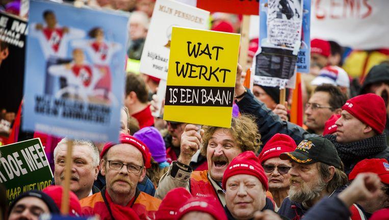 Werknemers in de sociale werkvoorziening voerden vorig jaar actie voor het behoud van hun banen. Beeld anp