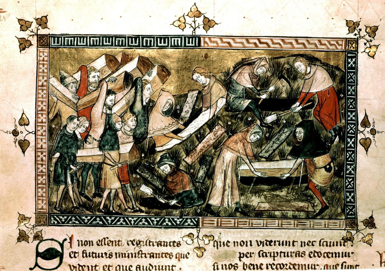 Deze oude tekening toont een begraving in Doornik. Tienduizenden Vlaamse doden belandden in massagraven. Beeld RV