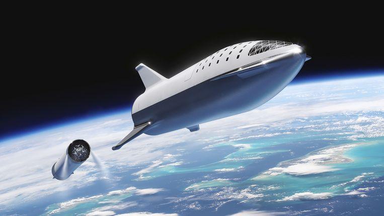 Illustratie van het ruimtetuig BFR vanElon Musk, de man van Space X. Zijn bedoeling is menselijke nederzettingen op de Maan, Mars en andere planeten te krijgen. Beeld AFP