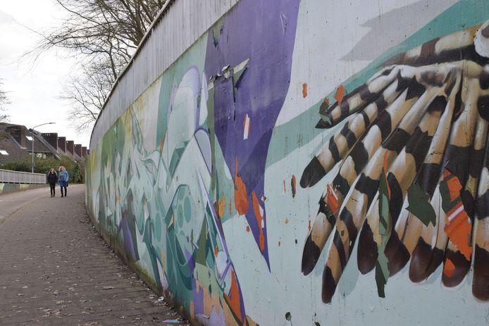 Op sommige plekken bladdert de verf van de fietstunnel.