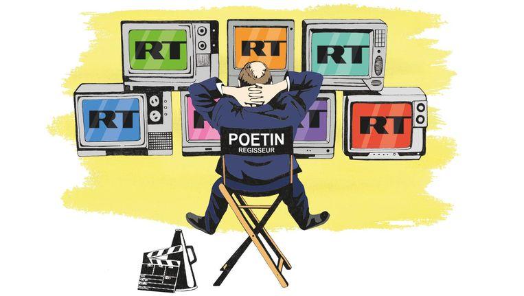Poetin controleert de uitzendingen van RT. Beeld Valerie Geelen