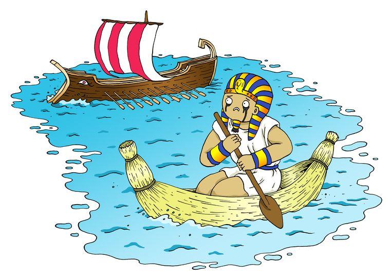 'In de woestijn groeiden geen bomen. De Egyptenaren konden daarom geen grote schepen bouwen waarmee ze andere streken konden veroveren.' Beeld Sven Franzen