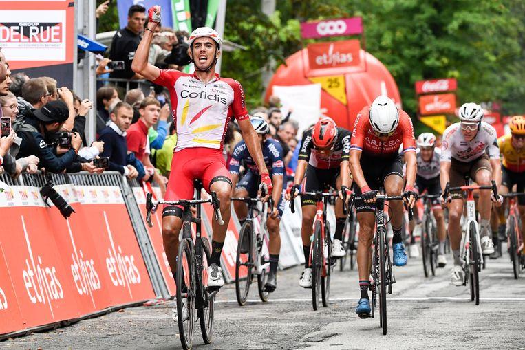 Christophe Laporte wint de GP van Wallonië. Beeld Photo News