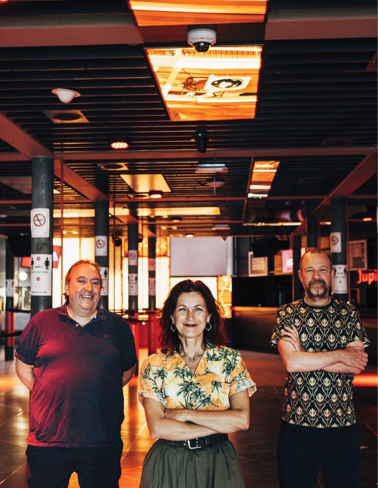 Mike Naert (Het Depot), Irene Rossi (Couleur Café) en Kurt Overbergh (AB).  Beeld Anton Coene