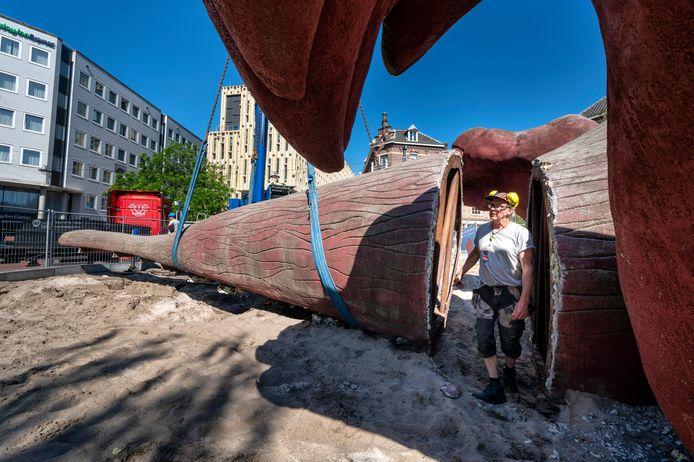 De ontmanteling en verplaatsing van het Feestaardvarken is dinsdag begonnen