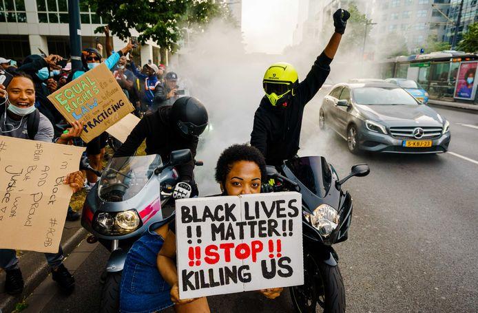 Demonstranten in Rotterdam, woensdag.