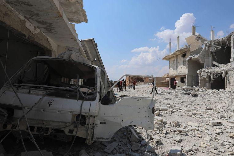 Samen met bondgenoot Rusland heeft Syrië dit weekeinde zware luchtaanvallen uitgevoerd op doelen in de provincie Idlib. Beeld AFP
