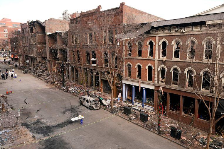 Schade in Nashville na de explosie op eerste kerstdag.  Beeld AP