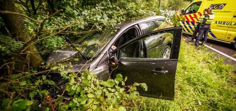 Auto raakt van de weg en raakt boom aan Collse Hoefdijk in Nuenen