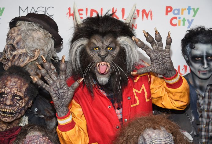 "Heidi Klum, dressed as a werewolf from Michael Jackson's ""Thriller"" video, attends her 18th Annual Halloween Party at Moxy Times Square on Tuesday, Oct. 31, 2017, in New York. (Photo by Evan Agostini/Invision/AP)"