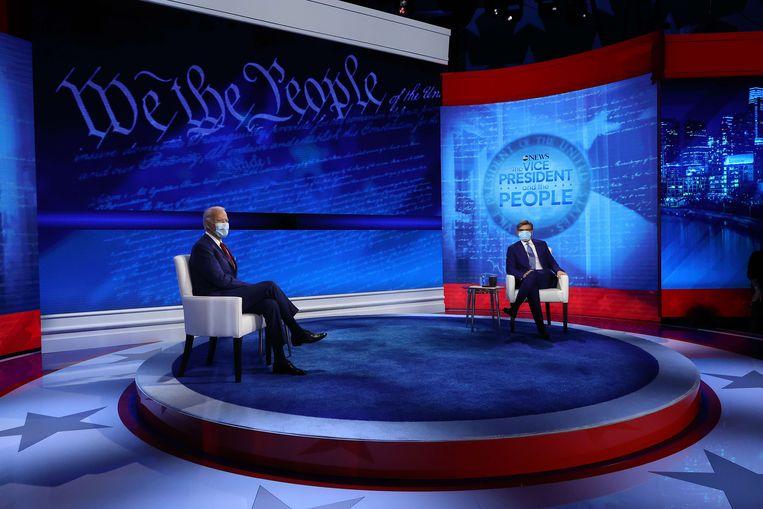 Biden tijdens het vraaggesprek op ABC News. Beeld AFP
