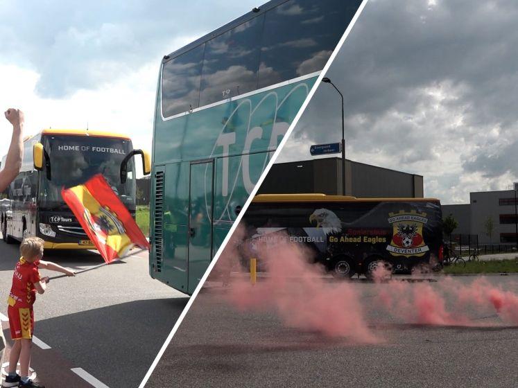 Honderden supporters zwaaien Go Ahead Eagles-bus uit
