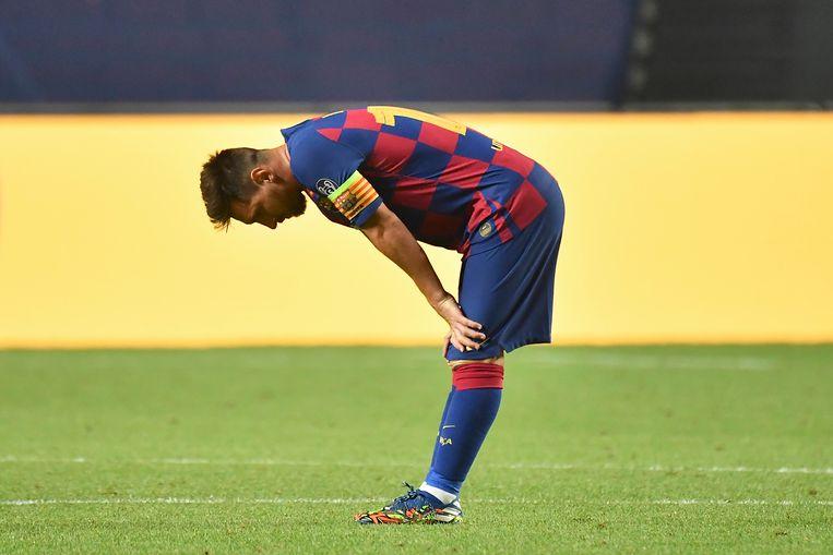 Lionel Messi op het veld in Lissabon, tijdens de afstraffing door Bayern München.  Beeld BSR Agency