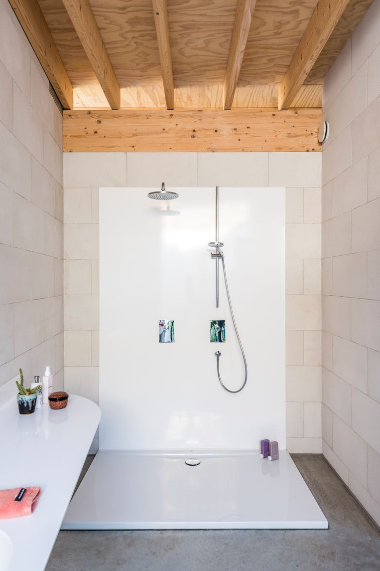 De douche en het lavabomeubel zijn gemaakt van geplooid staalplaat Beeld Luc Roymans