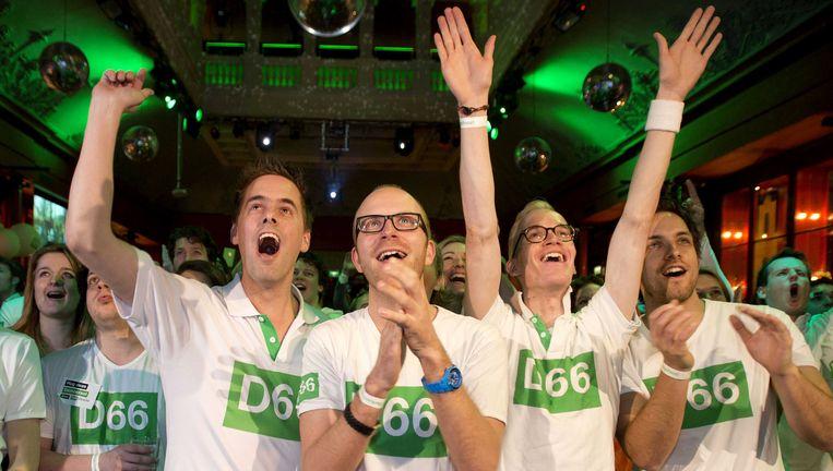 D66'ers vieren de verkiezingswinst. Beeld anp