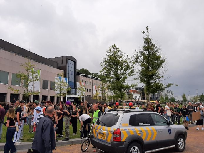 Protest op de Waalkade.