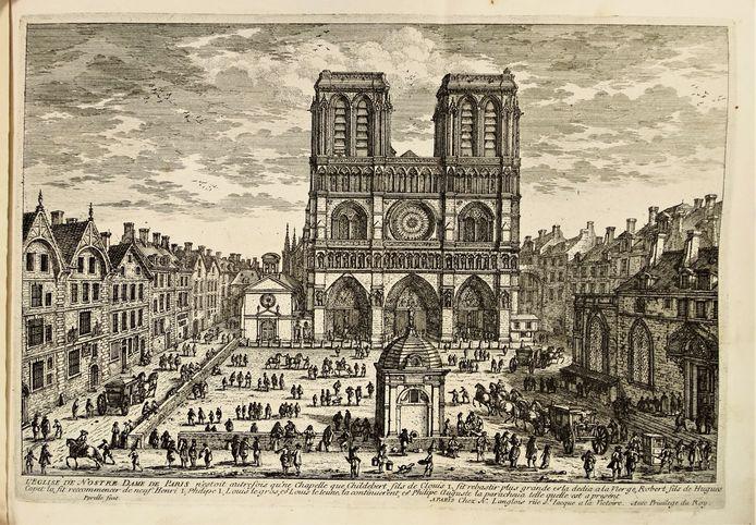 Zeeuwse regenten in Parijs, gravure, Gezicht op de voorgevel van de Notre-Dame.