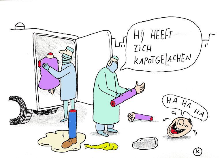 'Ouders maken zich zorgen als ze een lachgascapsule vinden in een jaszak, maar je kind van alles verbieden werkt averechts.' Beeld Kamagurka