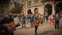 De flashmob op het Sint-Baafs in Gent.