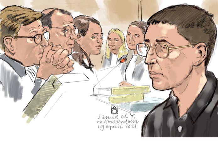 Rechtbanktekening van Samir El Y. (R) tijdens een inhoudelijke zitting in de rechtbank van Amsterdam over het doodschieten van Bas van Wijk op 8 augustus 2020. El Y. wordt verdacht van moord dan wel doodslag, afpersing en wapenhandel