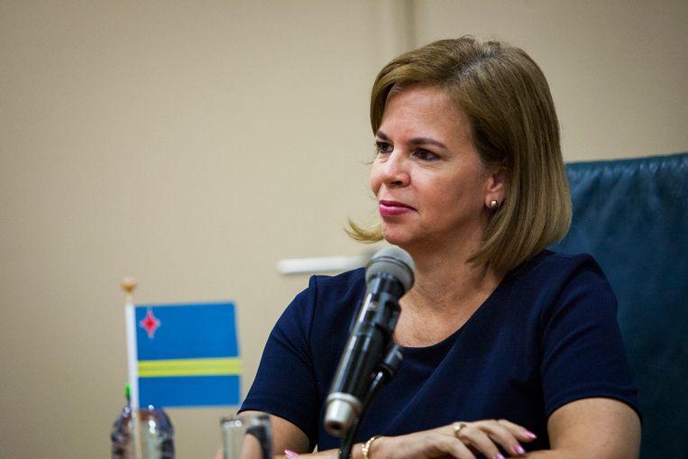 Minister-president Evelyn Wever-Croes van Aruba tijdens een persconferentie. (ANP) Beeld