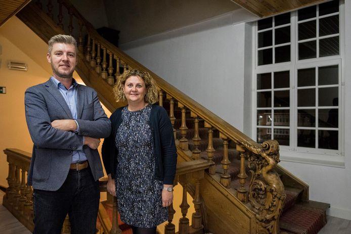 Het directieteam van 'De Keiwijzer', Kristof Christiaen en Angelique Clauw.