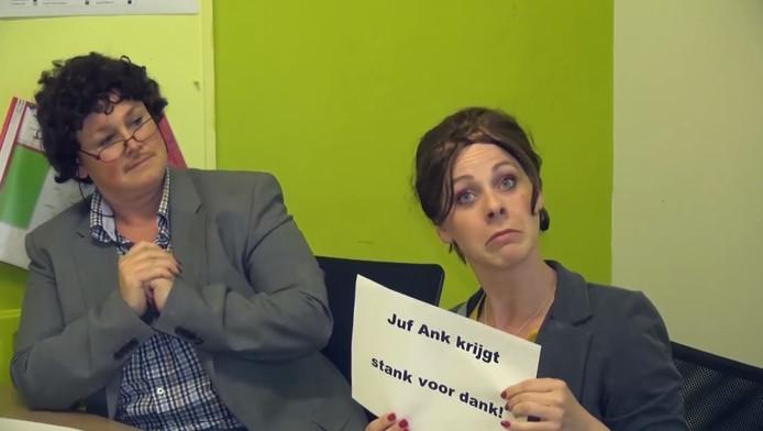 'Anton' en 'Juf Ank' in de video.