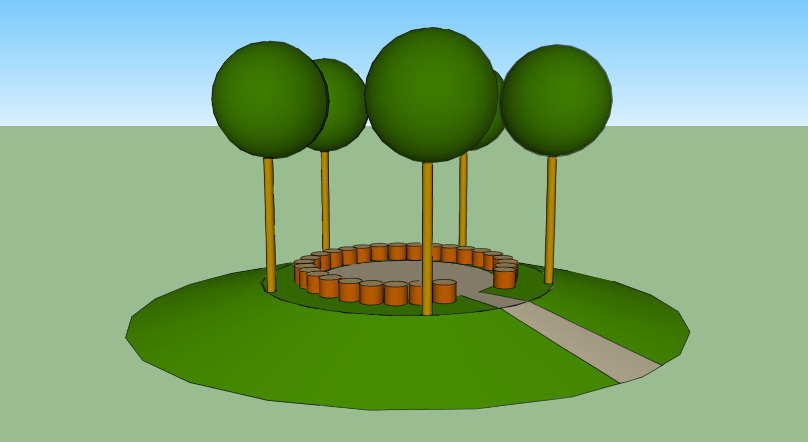 Ontwerp van de gedenkplek voor coronaslachtoffers in het kanaalpark.