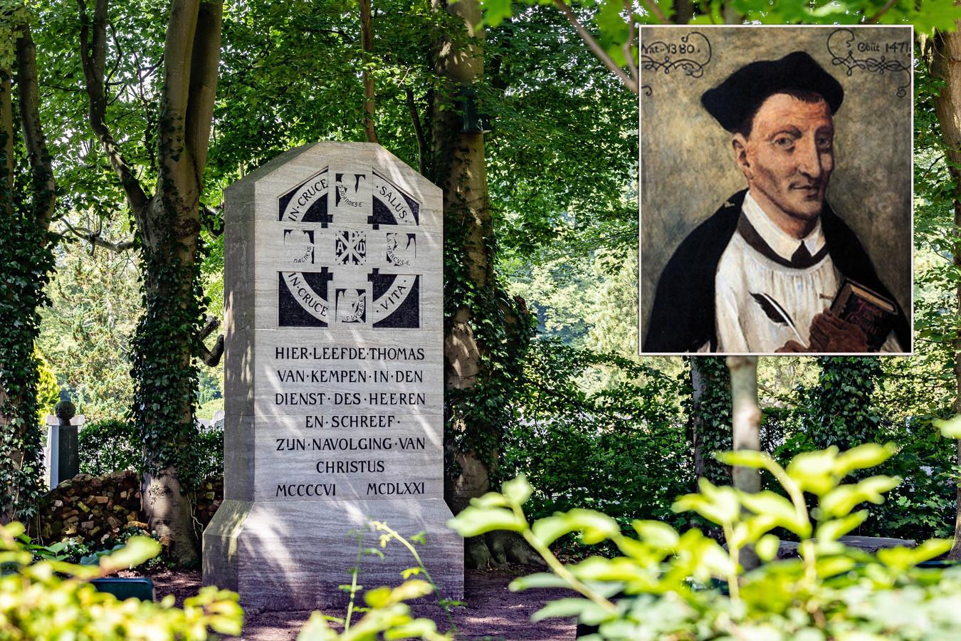 De gedenksteen bij begraafplaats Bergklooster in Zwolle. Inzet: een portret van Thomas a Kempis.