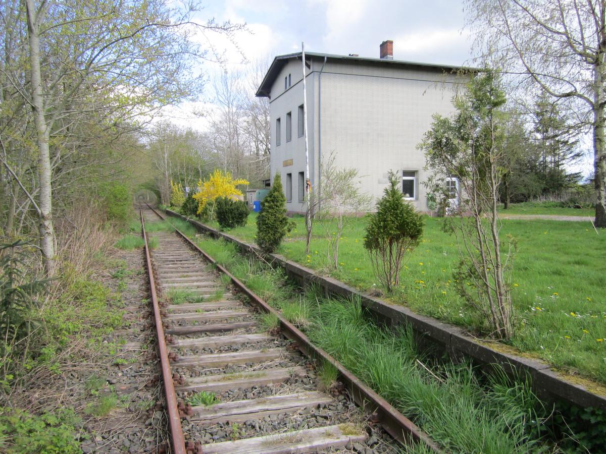 Het aankomststation Achtrup nabij Ladelünd vlakbij de Deense grens.