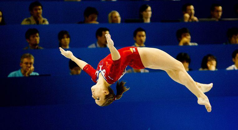 Turnster Celine van Gerner in actie tijdens het WK Turnen in Tokio.  Beeld ANP