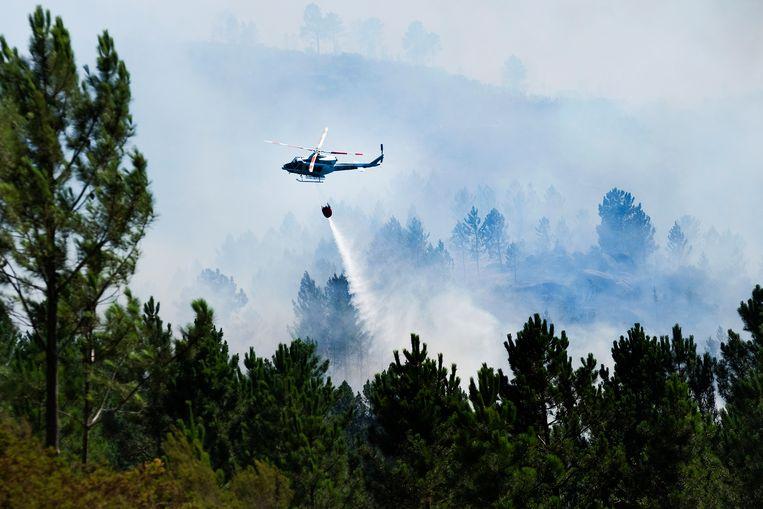 Een blushelikopter boven een bosbrand in Portugal, begin augustus. Een deel van de jongeren die naar het Europees Hof zijn gestapt komt uit dit gebied. Beeld EPA