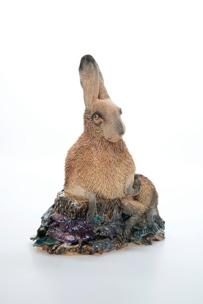 Het werk Haas uit 2017 van Carolein Smit is te zien in de tentoonstelling Raketstart in Stedelijk Museum Breda.