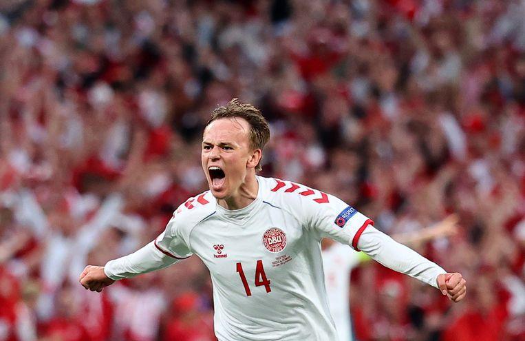 Mikkel Damsgaard scoorde de 1-0 voor Denemarken. Beeld Pool via REUTERS