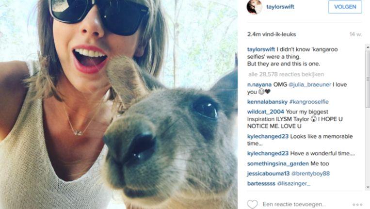 Taylor Swift met een kangoeroe. Swift is één van de populairste Instagramgebruikers ter wereld. Beeld Instagram / Taylor Swift