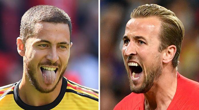 Eden Hazard en Harry Kane (rechts).