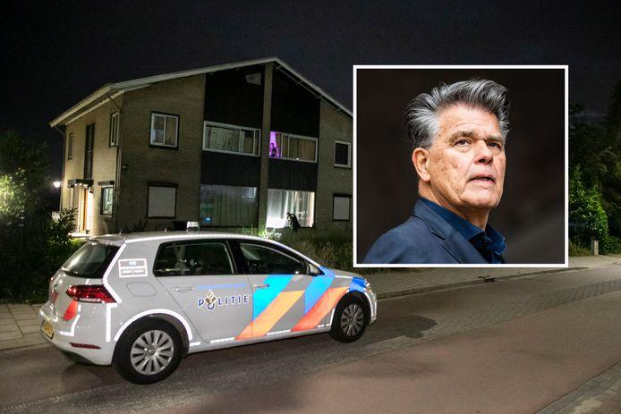 Politie bij de woning aan de Hulkesteinseweg in Arnhem waar mogelijk geschoten is. Inzet: eigenaar Emile Ratelband.