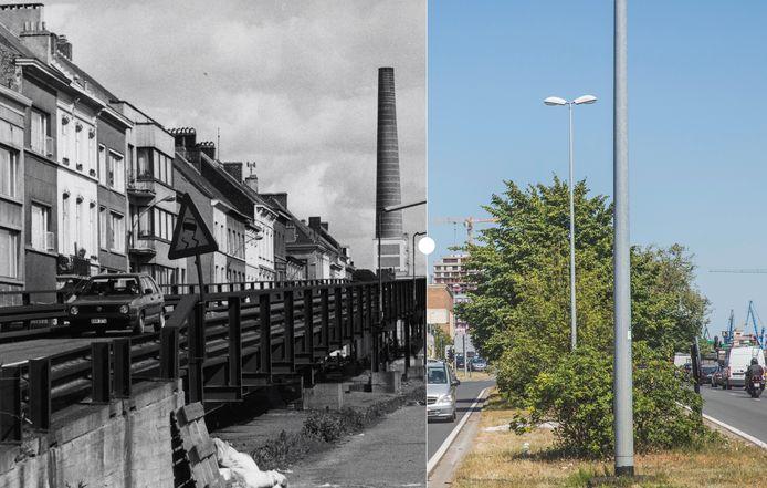 Vroeger en nu: de Dampoort met en zonder de fly-over.