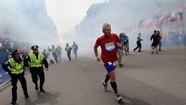 Het moment van de aanslag bij de finish van de Boston Marathon, 15 april 2013. Beeld epa
