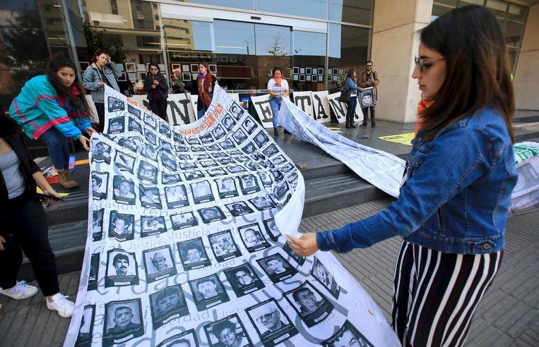 Protest tegen de executies door het leger in Bogotá, vorig jaar. Beeld AFP